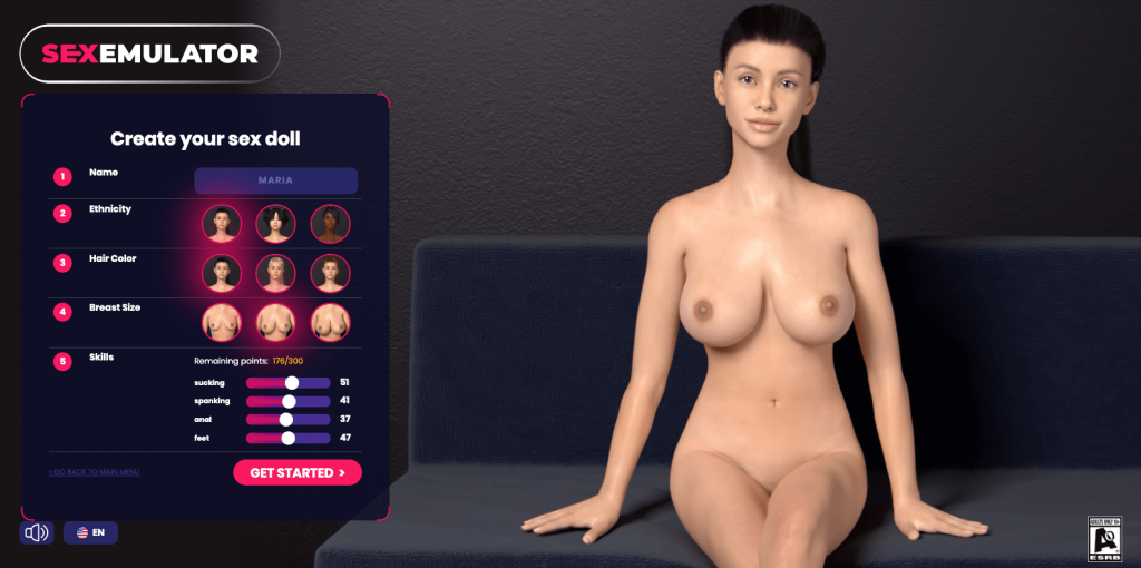 sexemulator porn game creating a sex doll screen