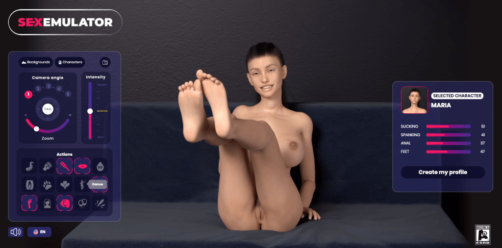 sexemulator character doing foot play