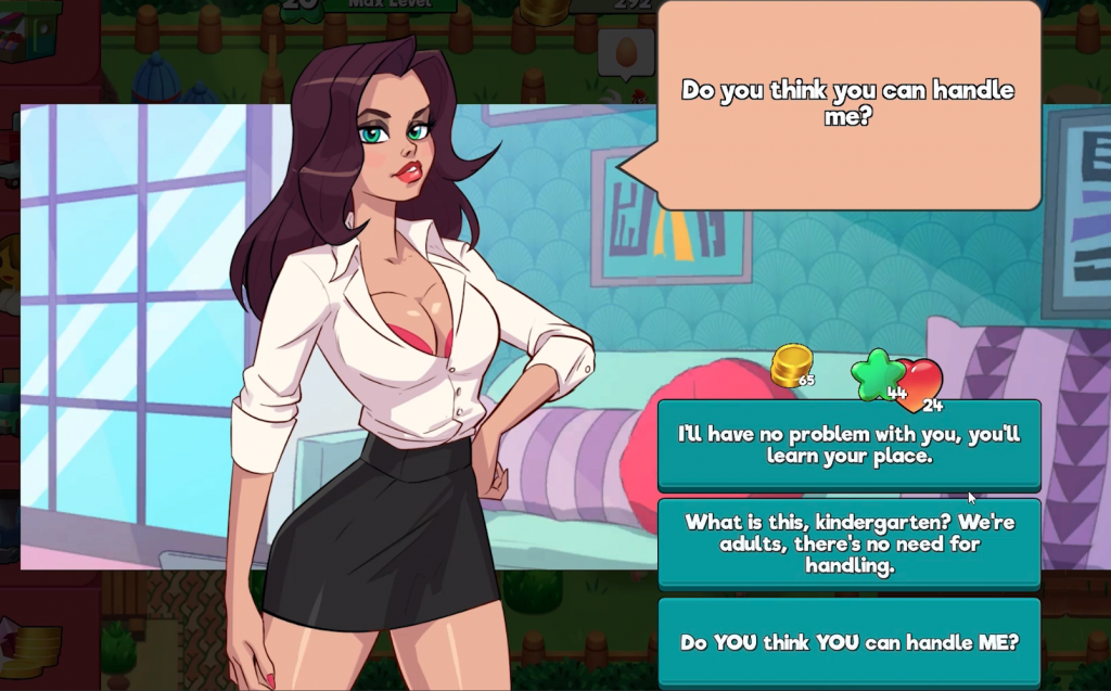 character ask player questions on how to proceed in nutaku