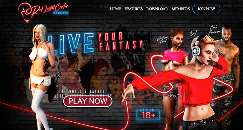 the home page of red light center the meet n fuck game