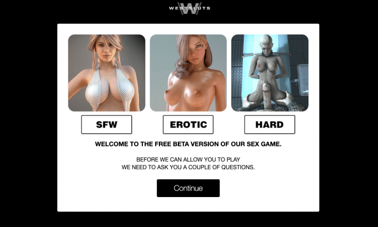 home page of west sluts porn game