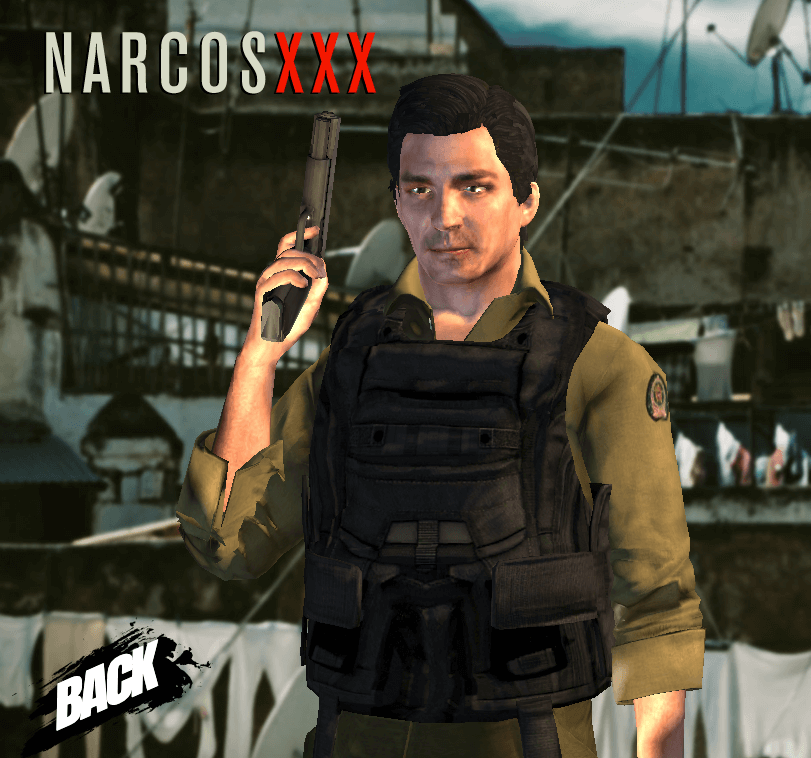 horatio character with gun and vest on narcos xxx