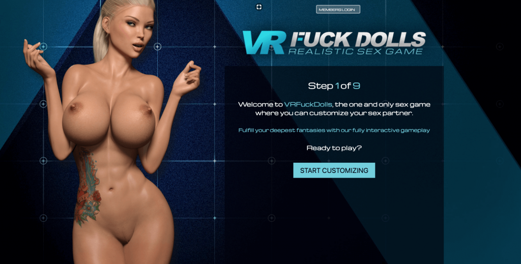 home page of free sex game vrfuckdolls with big boobs model