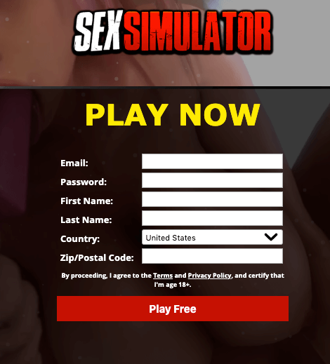 signup page to sexsimulator