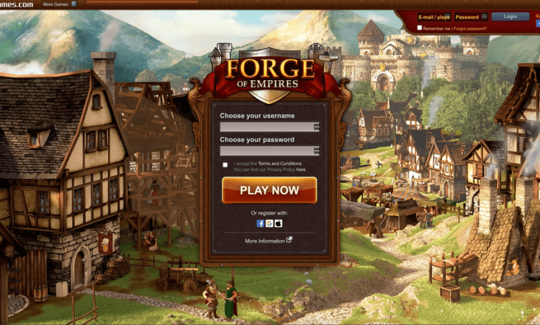 home page of forge of empires web browser game