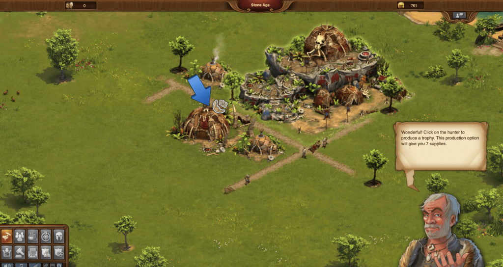 in-game tutorial mode of forge of empires